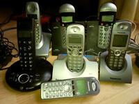 Last price ! 7 phones - 3 Panasonic , 2 BT , 2 Binatone