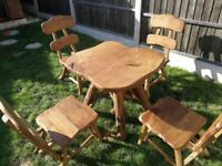 Solid Hand Made Wooden Garden Furniture, Table + 4 chairs, Oak