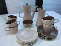 Vintage Poole Pottery Twintone Tea / Coffee Set Mushroom/Sepia For 6 People