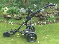POWERBUG ELECTRIC GOLF TROLLEY AND FULL SET OF CALLAWAY CLUBS, FREE DELIVERY