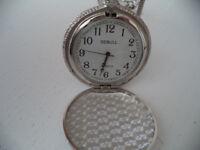 NEW DEBULL silver pocket quartz watch