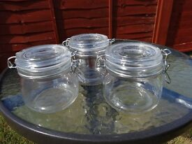 Set of 3 Glass Canister Jars