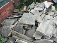 Paving Slabs- Good Condition. Mixed sizes- ideal for patio, garden feature, stepping stones etc