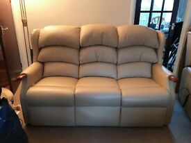 Custom Made 3 Seater Beige Leather Sofa & Armchair