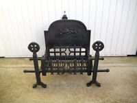 Antique Style Cast Iron Fire Basket Grate with Andirons Dogs & Back Plate