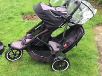 Phil and Teds Sport double pushchair used
