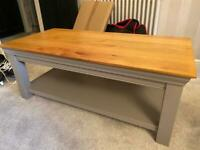Heavy large coffee table, grey natural wood look top