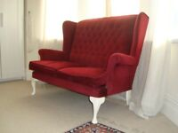 Sofa, red, vintage style, white painted legs.