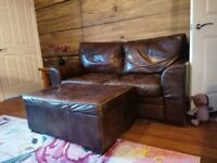2 x 2 Large Seater Distressed Leather Sofas