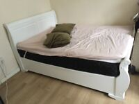 White Double Bed French style. Original retail price £300