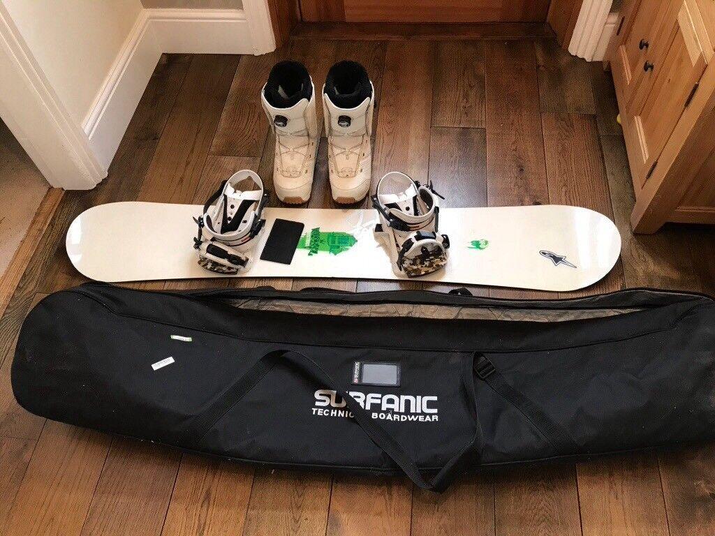 Rossignol snowboard 160cm + bindings + K2 snowboard boots UK size 10