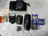 Canon FILM camera EOS 1000F plus accessories