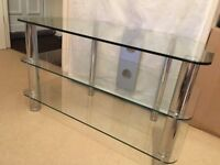 Clear Glass TV Stand Table
