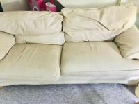 FREE.................Cream leather 3 sweater sofa and chair