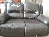 TWO SEAT LEATHER RECLINER SOFA - DARK BROWN / BLACK