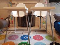 Two Ikea White Plastic Antilop Highchairs with trays