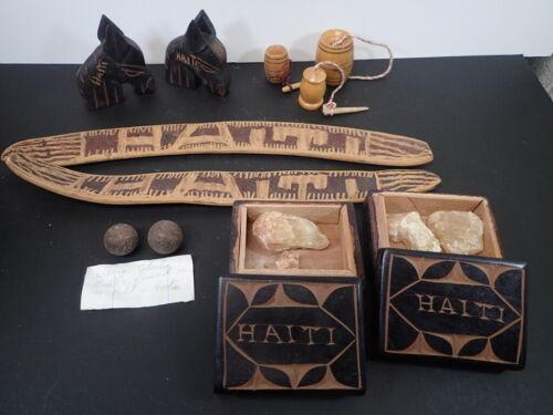 Large Lot Vintage HAITI Wooden Carved SOUVENIRS Musket Balls Boxes Horses Rattle