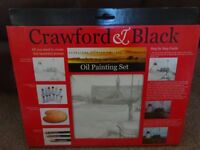 New Crawford & Black Oil Painting Set Includes Stretched Printed Canvas art and craft xmas gift