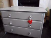 Vintage grey painted Shabby chic low short chest of drawers draws tv unit stand cabinet