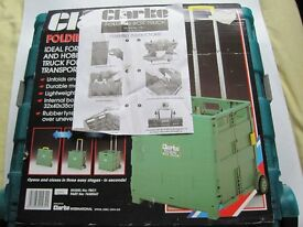 FOLDING BOX TROLLEY BY CLARKE. AS NEW, IDEAL FOR DIY, GARDENING AND HOBBY USE
