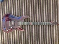 Schecter C-1 Exotic Star Lava Red Electric Guitar, Case and Stand