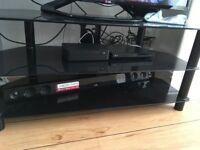 TV stand, black glass, 3 shelves