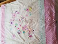 Girls cot bedding from Dunelm Mill quilt and bumper set new never used curtains excellent condition