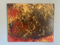 Handmade Abstract painting in acrylic paint on stretched canvas.