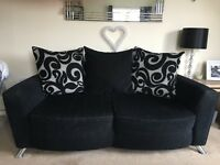 ⚫️ DFS large 2 seater sofa, 2 swivel armchairs &a footstool ⚫️