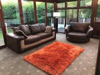 Brown Suede Jumbo Cord 3 Seater Sofa + Swivel Chair Excellent Condition