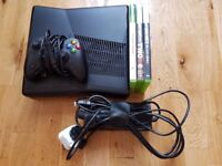 Xbox 360S (Slim) Console, 250GB, three games, one wired unofficial controller