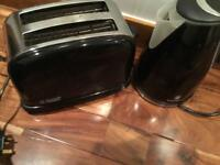 Russell Hobbs black toaster and kettle