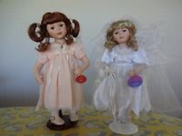 Porcelain Dolls x 2 , The Fairy Bride and Other, with stands