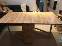 Folding Dining Table - Ikea Norden + 2 stools (Frosta)
