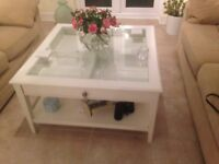 IKEA COFFEE TABLE(. LIATORP ) WHITE WITH GLASS TOP.