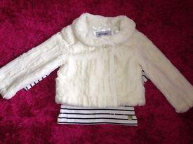 hite Faux Fur jacket size 5-6 years