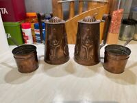Antique 1890's Art Nouveau pair of lidded water jugs & pair of pots