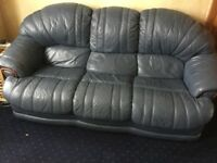 Blue leather 3 Seater and 2 Seater sofas