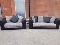 Really nice black and grey cord sofa suite. 1 month old. clean and tidy. can deliver