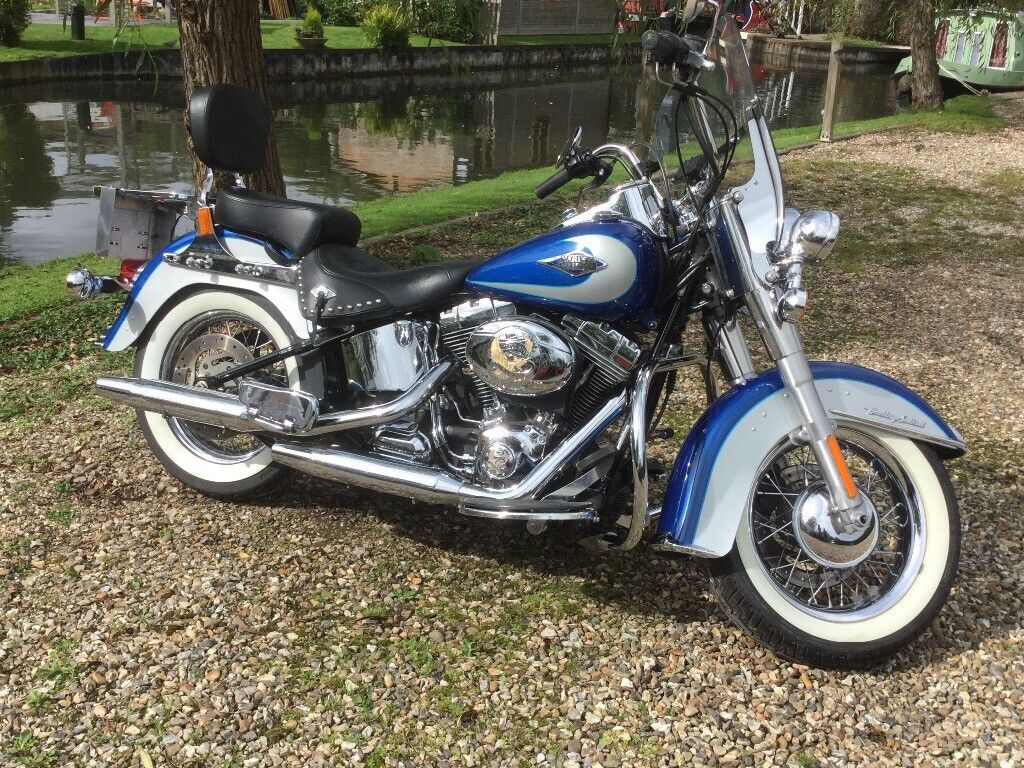 Harley Davidson Heritage Softail Blue Silver In Ludgershall