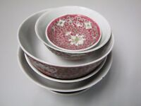 Chinese oriental tea bowls, spoon and small plates