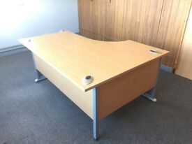 Desks, desk dividers, cabinets, chairs and footrests