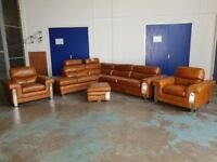 FABB SOFAS MODE BROWN LEATHER SUITE CORNER SOFA, 2 ARMCHAIRS & STORAGE FOOTSTOOL DELIVERY AVAILABLE
