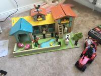 GLTC Walnut Toy Farm Set