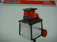 MOUNTFIELD MS2500 ELECTRIC SHREDDER 2500 WATT INDUCTION MOTOR 40CM CUTTING CAP LARGE 60 LTR COLLECT