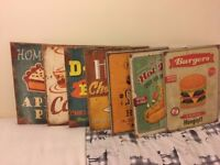 Retro American Wooden Wall Signs - Set of 7 NEW