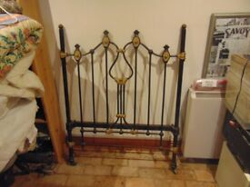 Victorian Cast Iron Single Bed Ends with connecting rails