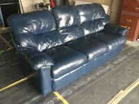 Dark blue 3 seater leather settee and reclining armchair, very good condition