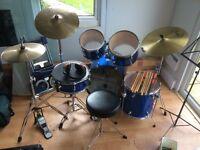 Beginners drum kit inc music stand, sticks etc