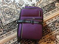 Away hand luggage 4 wheels size 58x36x20cm purple used 2 times £12